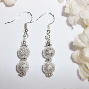 Silver Glitter Earrings Handmade Beaded Dangle Set
